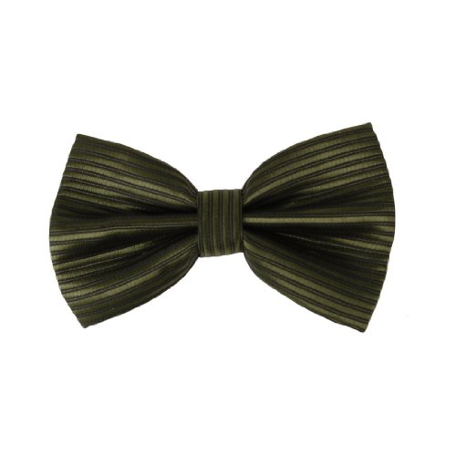 DBC2031 Green Cheap Bowties For Men Stripes Olive drab Black Pre-tied Bow tie By Dan Smith (Stripe Bow)
