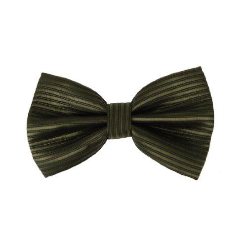 Dan Smith DBC2031 Green Cheap Bowties For Men Stripes Olive drab Black Pre-tied Bow tie