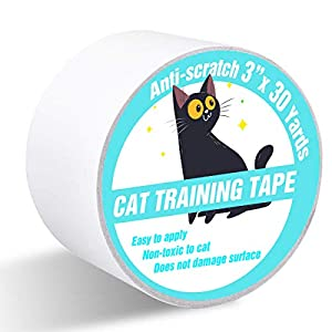 Polarduck Anti CatScratchTape, 3 inches x 30 Yards Cat Training Tape, 100% Transparent Clear Double Sided Cat Scratch Deterrent Tape, Furniture Protector for Couch, Carpet, Doors, Pet & Kid Safe