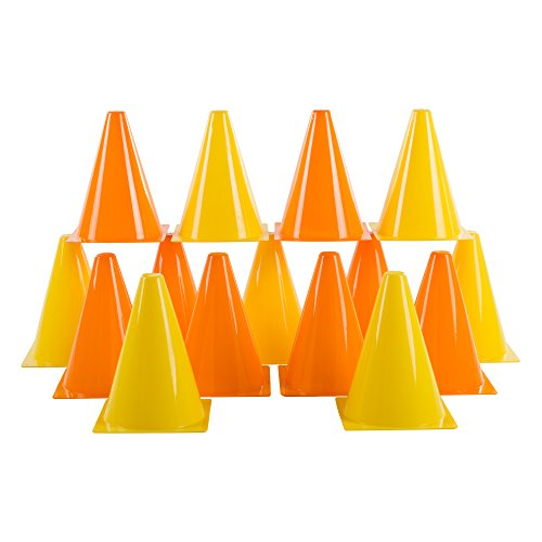 Hey! Play! Traffic Safety Cones, Set of 15- Plastic, Colorful, Flexible for Kids Indoor and Outdoor Games, Sports Training, Driving, or Barriers