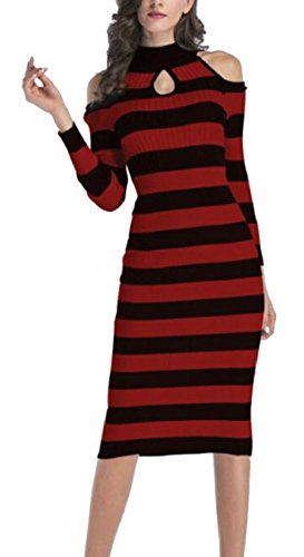 Sweater Turtleneck Knitted Women's Midi Bodycon Cold Sexy Shoulder 2 Jaycargogo Dress TUq70xT