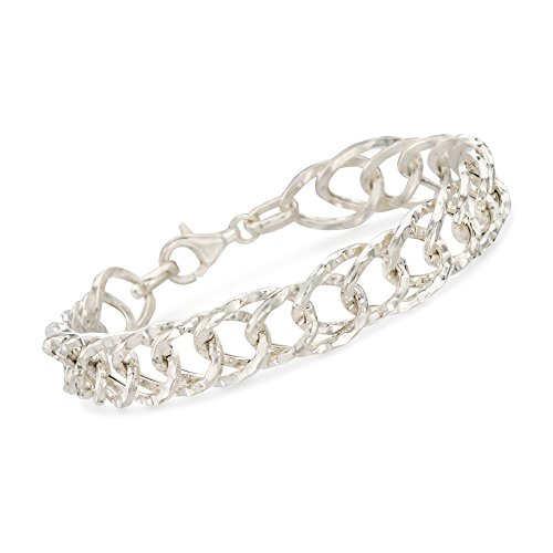 (Ross-Simons Italian Sterling Silver Textured and Polished Oval-Link Bracelet)