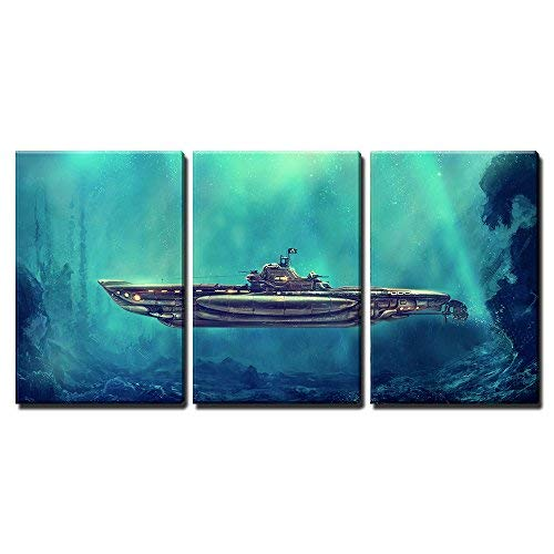 "wall26 - 3 Piece Canvas Wall Art - Illustration - Fantastic Pirate Submarine in The Underwater Environment. Digital Art - Modern Home Art Stretched and Framed Ready to Hang - 16""x24""x3 Panels"