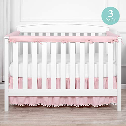 TILLYOU 3-Piece Padded Baby Crib Rail Cover Protector Set from Chewing, Safe Teething Guard Wrap for Standard Cribs, 100% Silky Soft Microfiber Polyester, Fits Side and Front Rails, Pink (Crib Sets Bedding Silky)