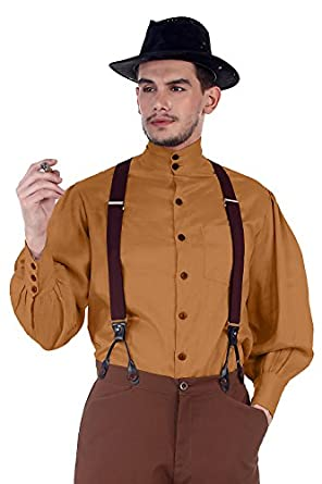 Steampunk Mens Shirts Steampunk Victorian Costume Seigneur Shirt [Gold]  AT vintagedancer.com
