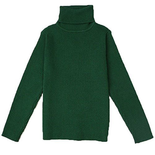 Little Girls Turtleneck Long Sleeve Sweater Basic Solid Fine Knit Warm Sweatshirt 130cm (Basic Fine Knit)