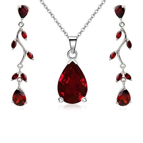 Teardrops Set with Red Zirconia Crystals Pendant Necklace 18'' Earrings 18 ct White Gold Plated for Women by Crystalline Azuria
