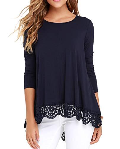 QIXING Women's Tops Long Sleeve Lace Trim O-Neck A-Line Tunic Blouse Navy Blue M