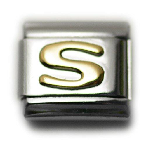 Letter S Italian Charm Bracelet Link Alphabet, 9mm Type Link Size