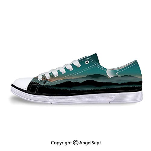 Unisex Canvas Lace-up Low Top Flat Shoes Mountain Range Forest Crescent Moon Cosmic Flat Back Rhinestones
