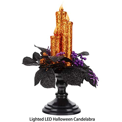 KI Store Halloween Candelabra with LED Flameless Candles Holder Glittered with Flickering Lights Battery Operated for Halloween Centerpiece Mental Window (Orange Glittered)