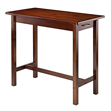 Winsome Kitchen Island Table with 2 Drawers and Saddle Stools, 3-Piece