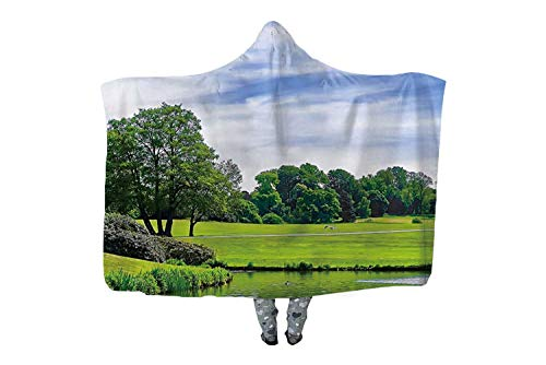 Pond and Park Near Leeds Castle in Kent Fleece Soft Wearable Hooded Blanket,Microfiber Warm Winter Novelty Wearable Blanket,108737,60''x50'' (Christmas Leeds Castle Kent)