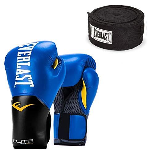 Elite Leather Boxing Gloves - Everlast Elite Pro Style 14 Oz Leather Training Boxing Gloves & 120