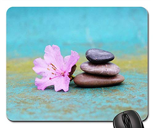 - Mouse Pad - Azalea Stone Pile Stack Stones Blossom Bloom Pink 2