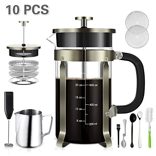 - TAIKER French Press Coffee/Tea Maker(34 oz,8 cups) Heat Resistant Glass Stainless Steel Frame with Milk Frother,7 oz Frothing Pitcher,Stirring Spoon,Clean Brush & 2 Filter Screens (Bronze)