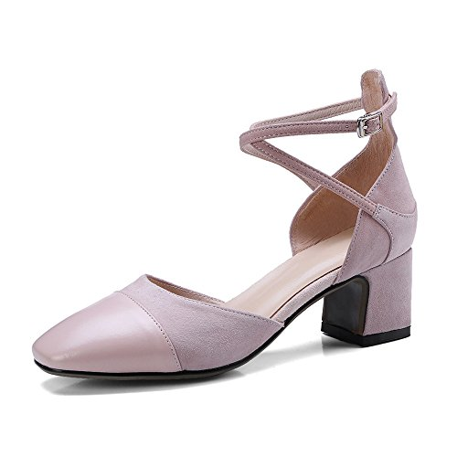 Genuine Handmade Pumps Buckle Heel Seven Chunky Women's Shoes Nine Leather Toe Light Square Retro Strap Pink New 5Rwxzp