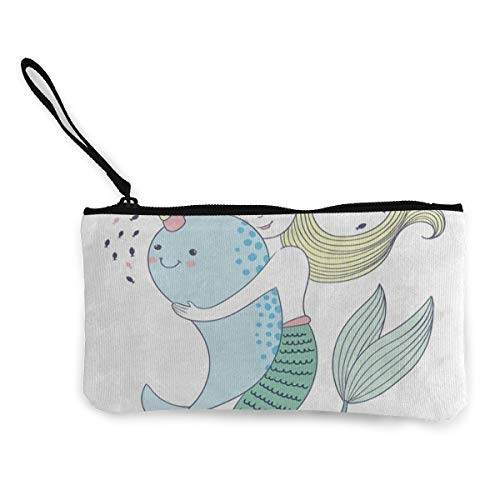 Canvas Coin Purse Cute Whale Unicorn Mermaid Customs Zipper Pouch Wallet For Cash Bank Car Passport