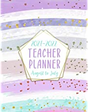Teacher Planner 2021-2022: Lesson Plan Grade and Record Books for Teachers 2021-2022 Academic Year Monthly and Weekly Class Organizer   Teacher Lesson Planner August 2021-July 2022 (Stylish & Colorful Paint Stripes)