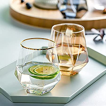 REHON 300ml Diamond Whiskey Glasses Set, Clear Geometric Fashioned Water Juice Tumbler Tilted Scotch Glassware Modern Look Glassware for Glass for Juice, Whiskey, Scotch, Bourbon,Gold Trim-6