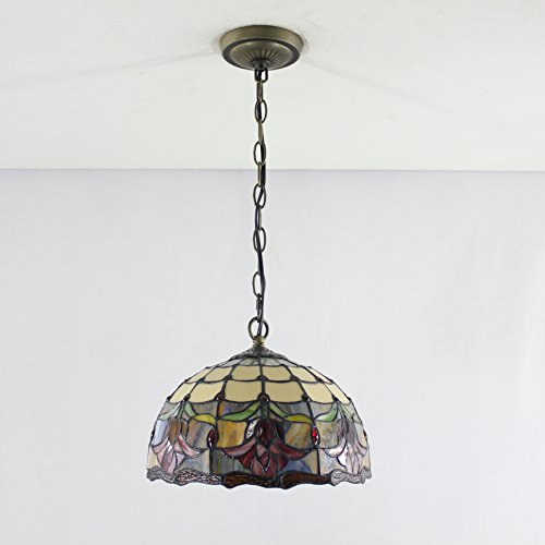 12-inch Vintage Pastoral Rustic Stained Glass Tiffany Flower Ceiling Lamp Pendant Lamp Living Room Light Hallway Lamp