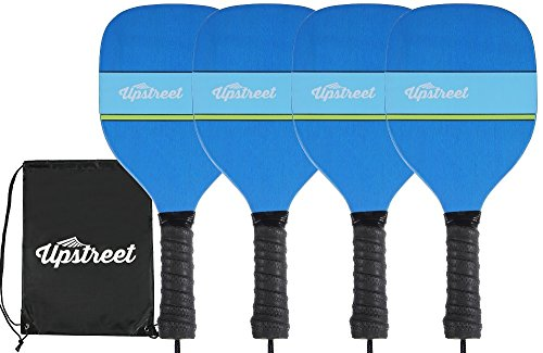 Upstreet Wood Pickleball Set by 7 ply Maple Construction | Micro-dry Racket Grip | Bundle Includes Paddle Carrying Bag (Wood Handle Blue Maple)