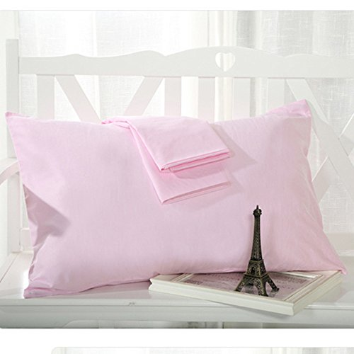 Pink Pillowcase (YAROO Pillowcase, Genuine Egyptian Cotton 300 Thread Count Standard 2-Piece Pillow case Set,Solid, Pink-Standard.)