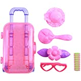 PSFS Fashion Girl Doll Accessories Baby Doll Pull Rod Box Accessories Set| Trolley Box Claear Suitcase Set for Surprise Dolls (Pink)