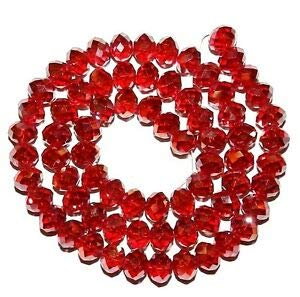 Steven_store CR256 Dark Red AB 6mm Rondelle Faceted Cut Crystal Glass Bead 16