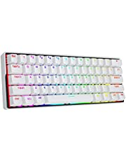 KEMOVE 61 Snowfox Bluetooth 5.1 Wireless/Wired 60% RGB Mechanical Gaming Keyboard - Hot Swappable with Mechanical Switches, PBT Keycap, Full Keys Programmable for Win/Mac -White (Gateron Blue Switch)