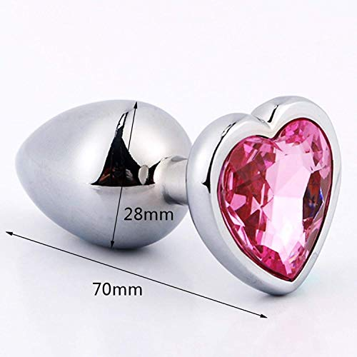 Carol Chambers Smooth Touch Metal Anal Plug with Crystal Jewelry Butt Plug with Rhinestone No Vibrator Anal Beads Sex Toys for Men/Women,Silver Medium