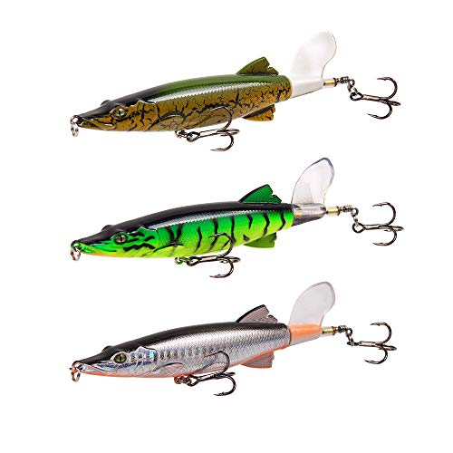 Dyxssm Whopper Plopper with Floating Rotating Tail Hard Bait Topwater for Freshwater Saltwater (Type A: 3 Colors Combo)