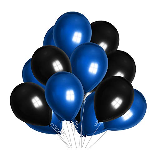 12inch Pearl Dark Blue Pearl Black Balloons 100pcs Perfect for Birthday Party Bridal Baby Shower Engagement Wedding Party Decor (Blue)