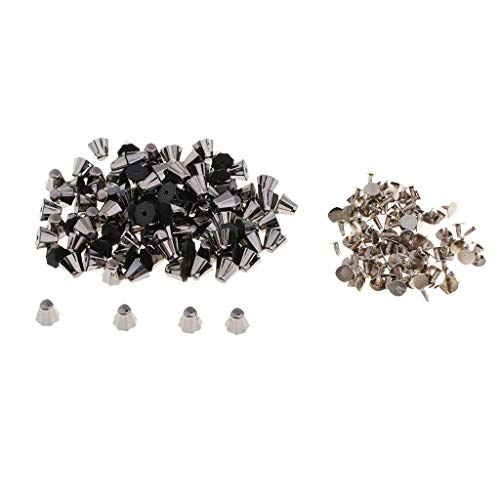 (100 Sets Bucket Shape Rivets Spikes Punk Style DIY Clothing Sewing Accessory (Color - Black))