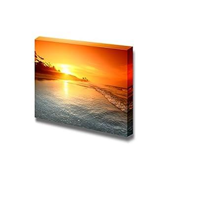 Beautiful Scenery Landscape Sunrise on The Sea Ocean Under Golden Sky Nature Beauty - Canvas Art Wall Art - 32