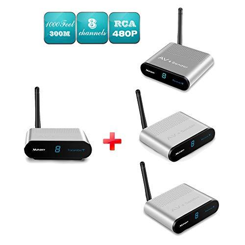 MEASY AV530-3 (1X3) 5.8GHz Wireless Audio Video AV Transmitter Receiver Sender Set 8 Channels for CCTV Camera DVR FPV DVD up to 300m /1000 feet