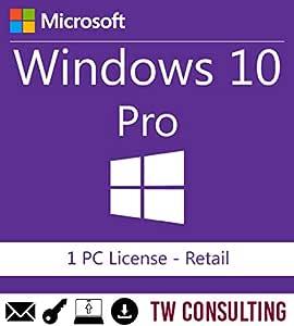 Windows 10 Professional Retail 1PC   Entrega electrónica de software Descarga versión completa de 32 y 64 bits + instrucciones de TW, Factura y garantía en España