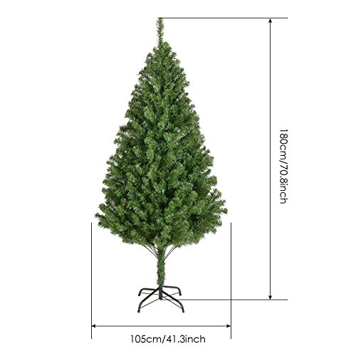 Christmas Tree Luxury New Traditional Forest Green Xmas Decorations-- 4 sizes (6ft(180cm)—850 (Green Pot O Gold Glasses)