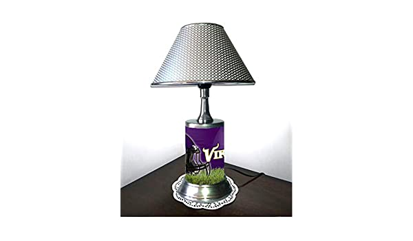 Minnesota Vikings Plate Rolled in on The lamp Base JS Table Lamp with Shade