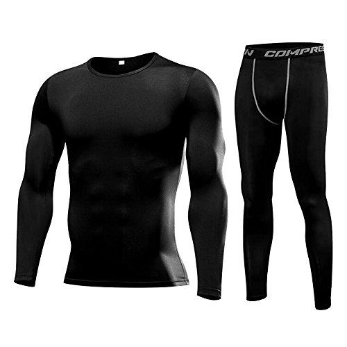 Findci Men Fitness Running Basketball Pants Breathable Long Sleeve Shirts Training Compression Set