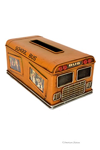 American Chateau Vintage School Bus Kleenex Tissue Dispenser Box Cover Holder with Photo Frames