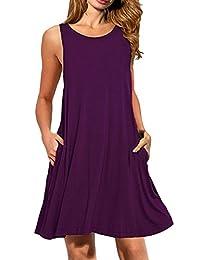 OMZIN Women's Tank Dress Summer Casual Sleeveless Mini Dress