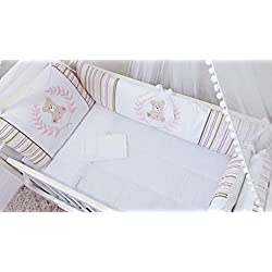 Bear Themed Pink Baby Girl 10 Pcs Nursery Crib Bedding Set Embroidered