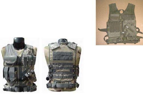 Tactical Crossdraw Vest w/Pistol Belt--OD GREEN (Olive Drab)