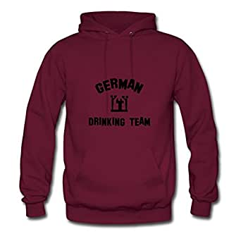 Custom German Drinking Team Burgundy Women Cotton Sweatshirts Fitted Funny X-large