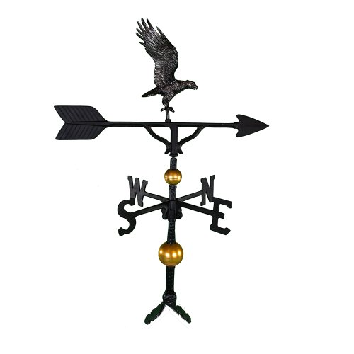 Montague Metal Products 32-Inch Deluxe Weathervane with Swedish Iron Full Bodied Eagle Ornament ()