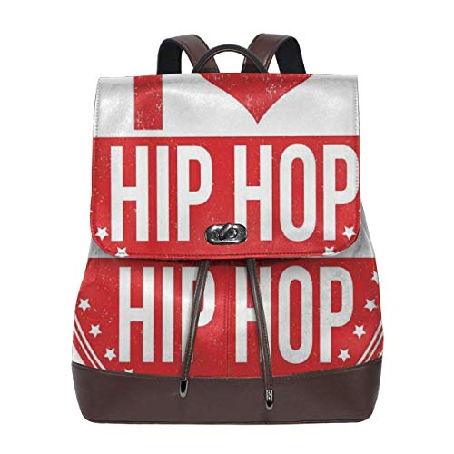 Women's leather backpack,I Love Hip Hop Phrase On A Circular Grungy Background With Star Shapes,School Travel Girls Ladies Rucksack