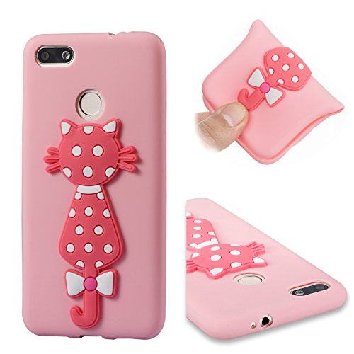Price comparison product image Alfort Huawei CX/Chang Xiang 7 Case, Huawei CX/Chang Xiang 7 Cover, Cat Series Phone Case Cover Soft TPU Material Case for Huawei CX/Chang Xiang 7 Smartphone Image Cute Red Cat (Pink)