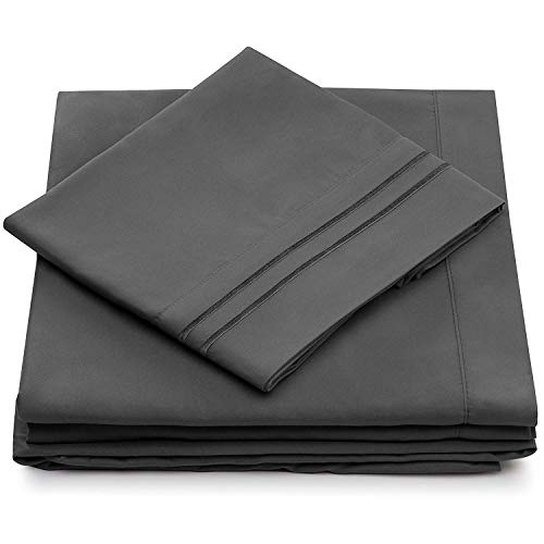 Split King Bed Sheets - Grey Luxury Sheet Set - Deep Pocket - Super Soft Hotel Bedding - Cool & Wrinkle Free - 2 Fitted, 1 Flat, 2 Pillow Cases - Charcoal SplitKing Sheets - 5 Piece