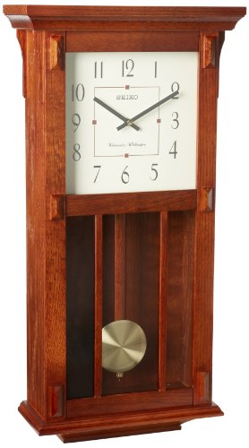 Seiko Wall Clock With Pendulum Dark Brown Case Westminster Whittington Chime